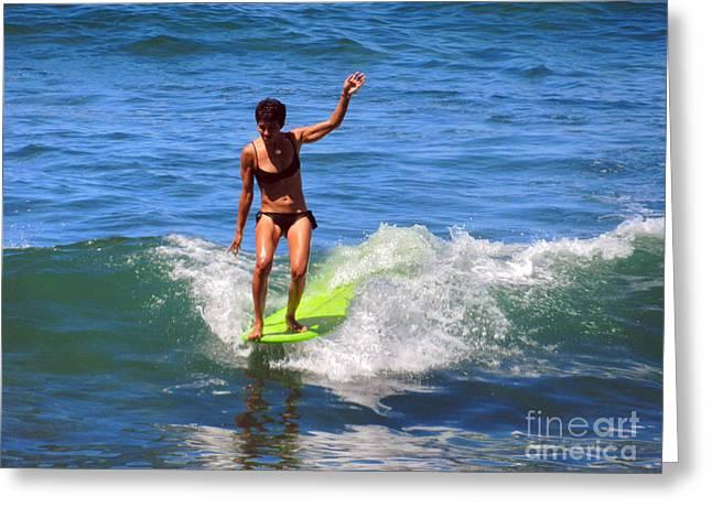 Woman Surfer Greeting Card by Alexandra Jordankova