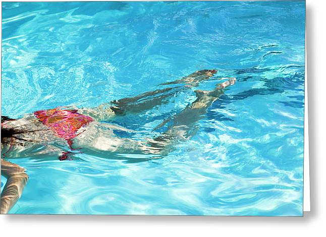 Woman Swimming Greeting Card by Gustoimages/science Photo Library