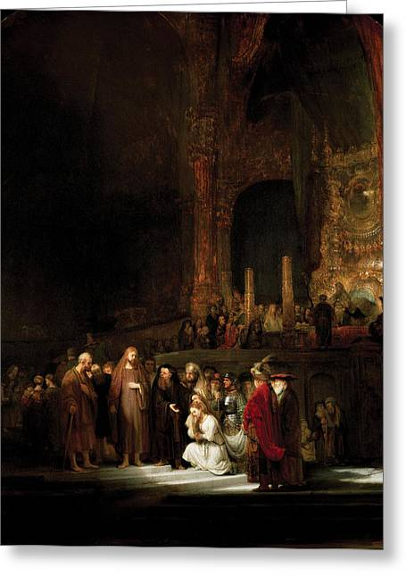 Woman Taken In Adultry To Jesus Greeting Card by Rembrandt