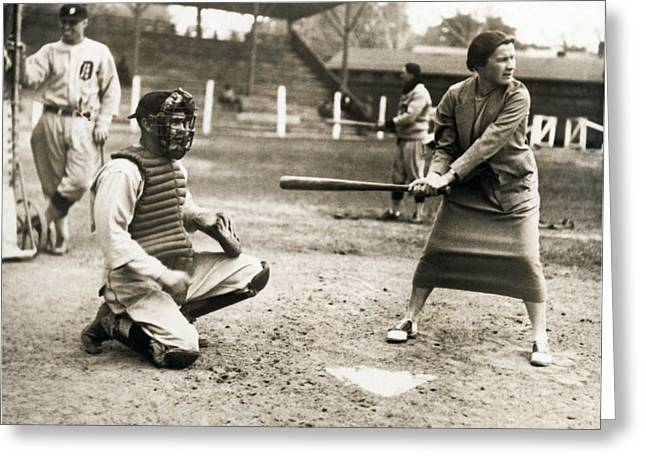 Woman Tennis Star At Bat Greeting Card by Underwood Archives
