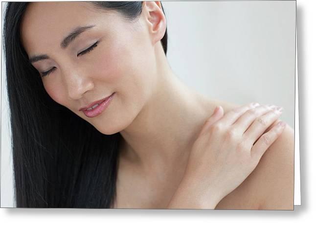 Woman Touching Shoulder Greeting Card