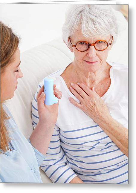 Woman Touching Throat Greeting Card