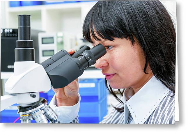Woman Using A Lab Microscope Greeting Card