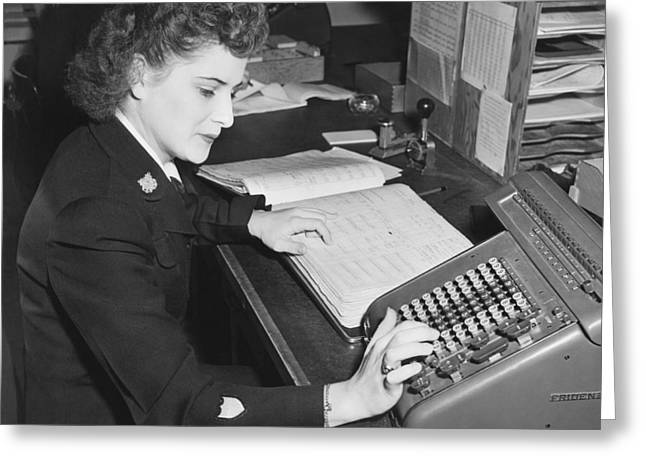 Woman Using Rotary Calculator Greeting Card by Underwood Archives