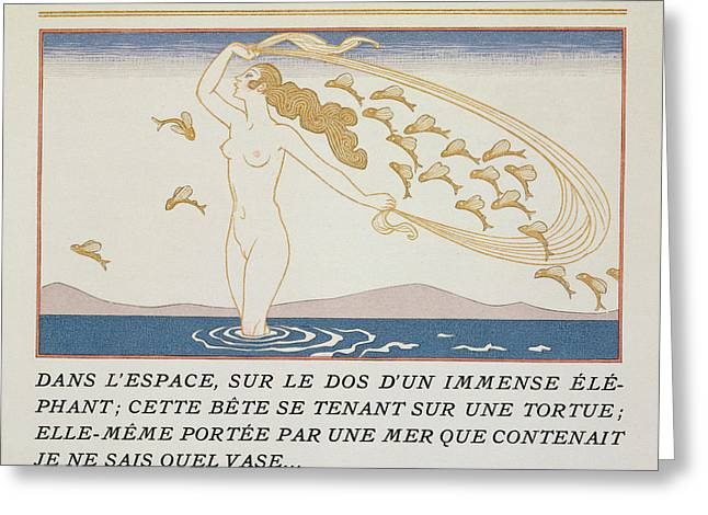 Woman Wading Through Water Greeting Card by Georges Barbier