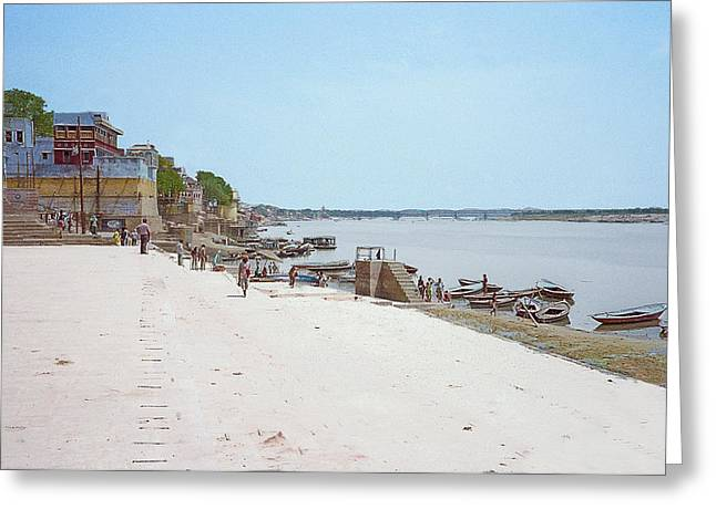Woman Walking Along The Ganges River Greeting Card
