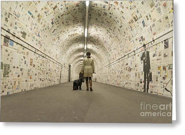 Woman Walking In A Tunnel Greeting Card