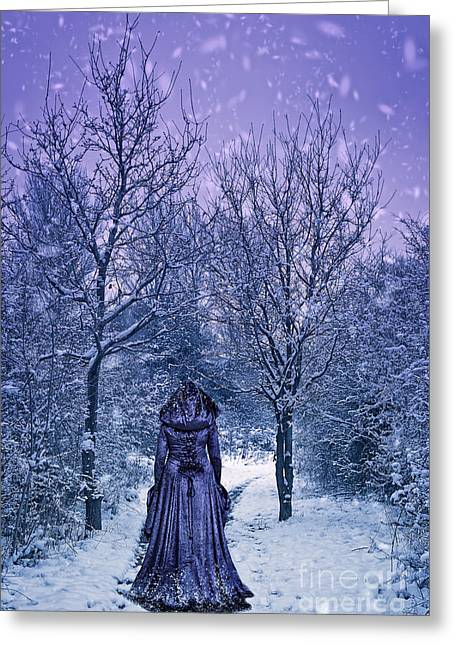 Woman Walking In Snow Greeting Card