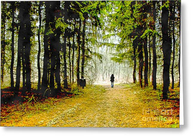 Woman Walking In The Woods Greeting Card by Odon Czintos