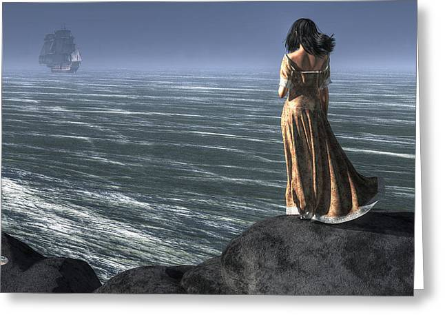 Woman Watching A Ship Sailing Away Greeting Card