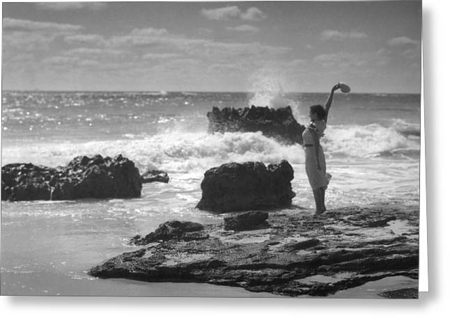 Woman Waving On Shore Greeting Card by Underwood Archives