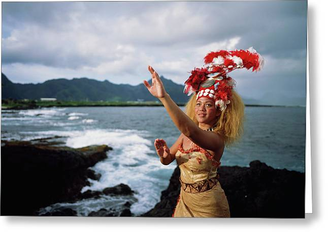 Woman Wearing A Traditional Samoan Greeting Card by David Kirkland