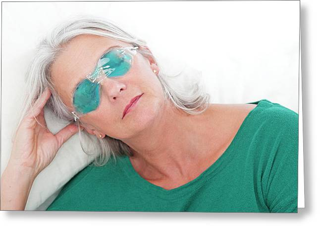 Woman Wearing An Eye Mask Greeting Card by Lea Paterson