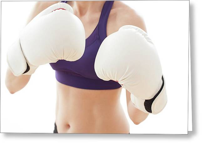 Woman Wearing Boxing Gloves Greeting Card