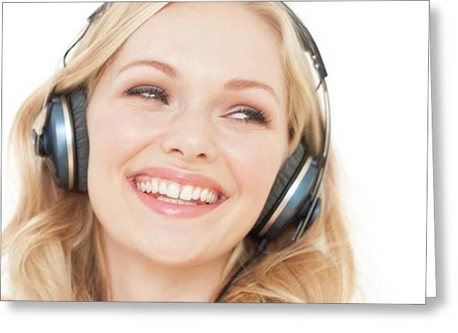 Woman Wearing Headphones Greeting Card