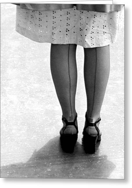 Woman Wearing Nylon Stockings Greeting Card