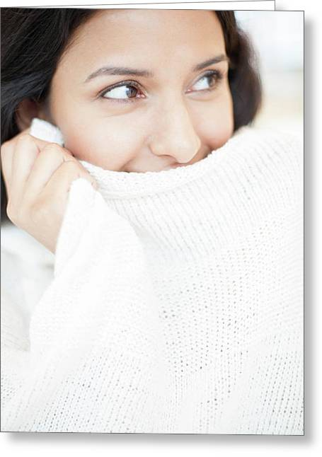 Woman Wearing White Jumper Greeting Card by Ian Hooton