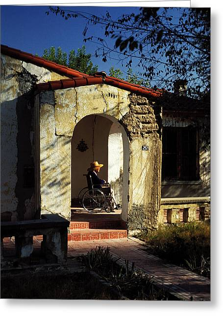 Woman Wheelchair On Front Porch Greeting Card