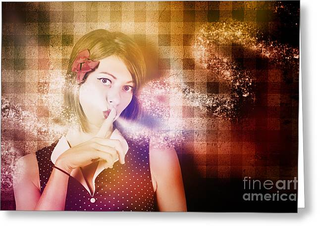 Woman Whispering A Magical Secret Greeting Card by Jorgo Photography - Wall Art Gallery
