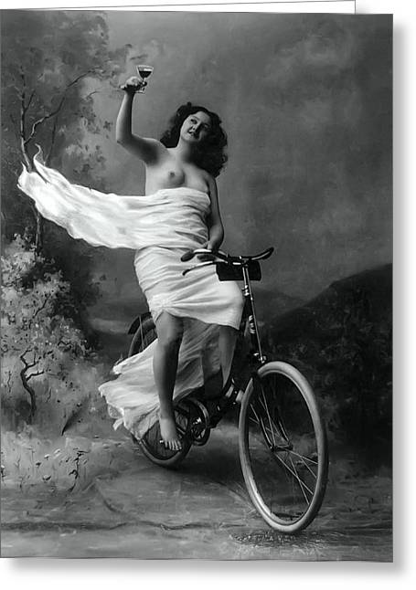 Woman - Wine - Bicycle  1897 Greeting Card