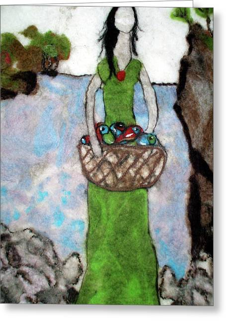 Woman With A Basket Of Fish Greeting Card by Jill Dodd