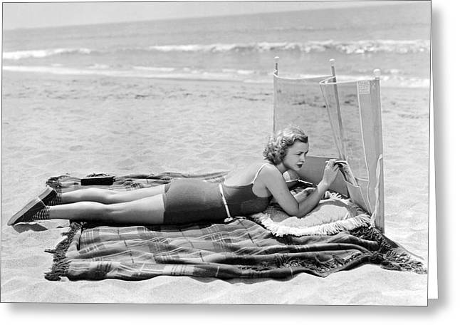 Woman With A Beach Screen Greeting Card