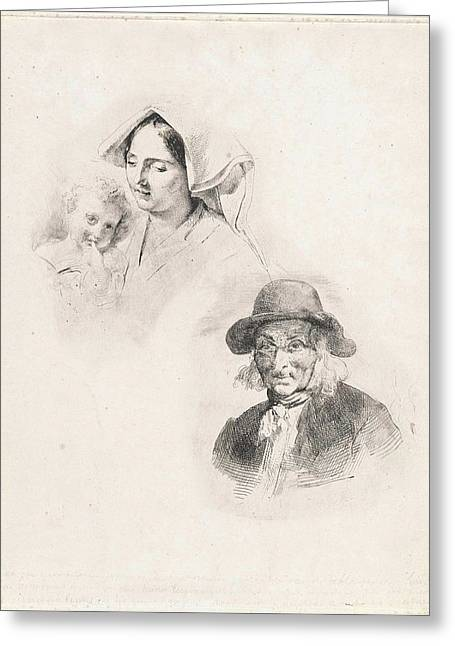 Woman With A Child And Old Man, Louis Anthony Vintcent Greeting Card