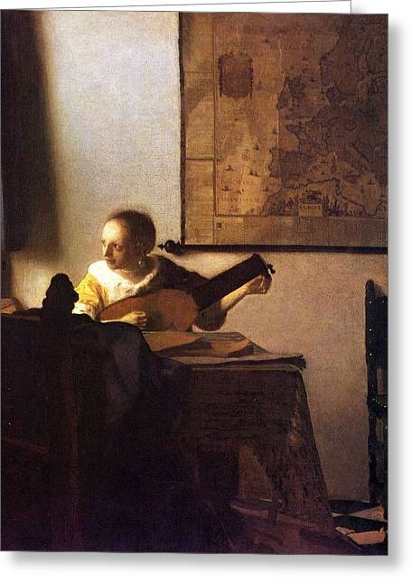 Woman With A Lute Greeting Card by Johannes Vermeer