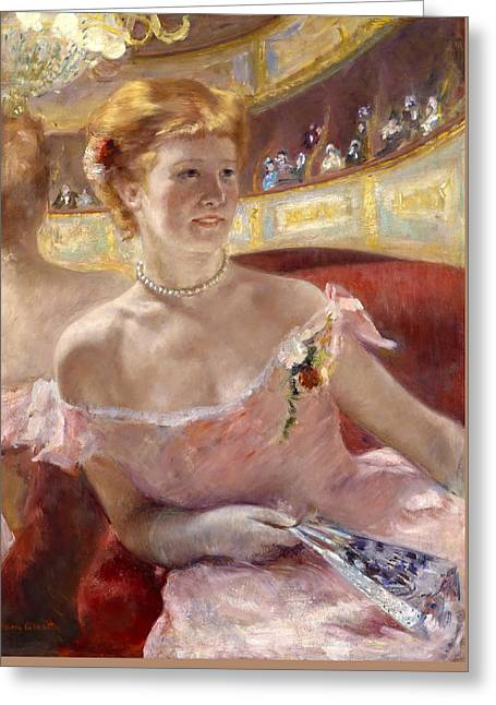 Woman With A Pearl Necklace In A Loge Greeting Card by Mary Stevenson Cassatt