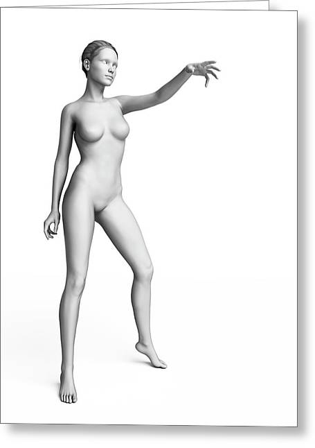 Woman With Arm Out Greeting Card by Sebastian Kaulitzki