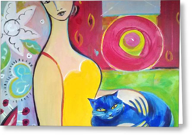 Woman With Blue Cat Greeting Card by Marlene LAbbe