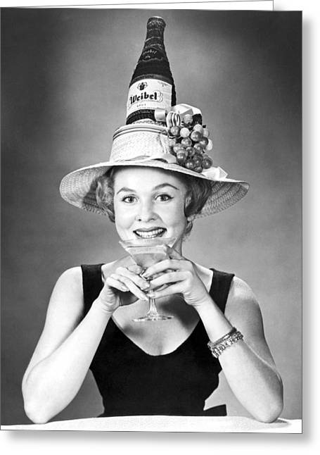 Woman With Champagne Hat Greeting Card