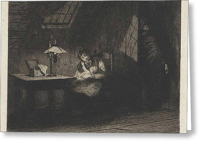 Woman With Child By Lamplight, Willem Steelink II Greeting Card