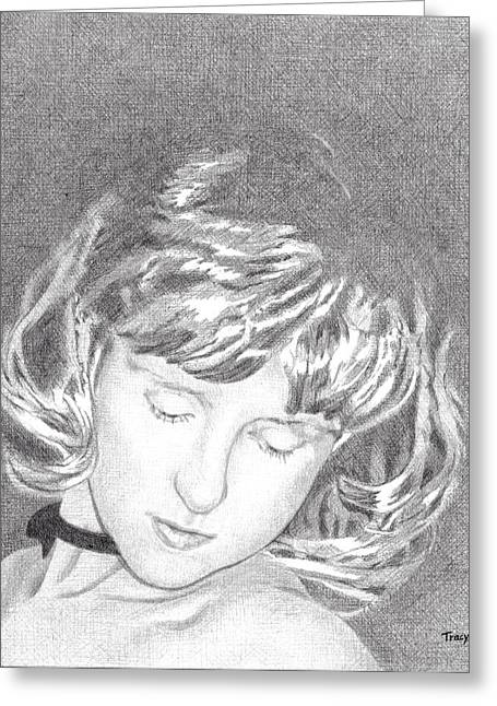 Woman With Choker Greeting Card by Robert Tracy