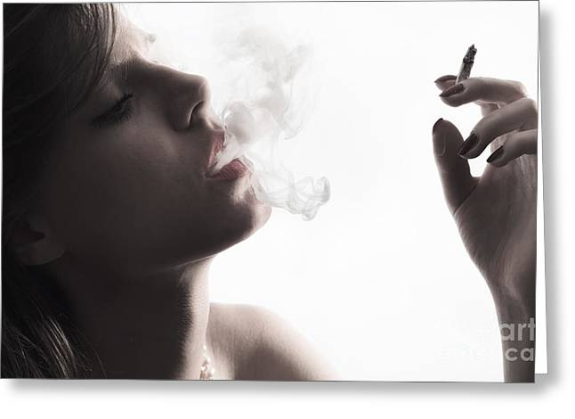 Woman With Cigarette Greeting Card by Jelena Jovanovic