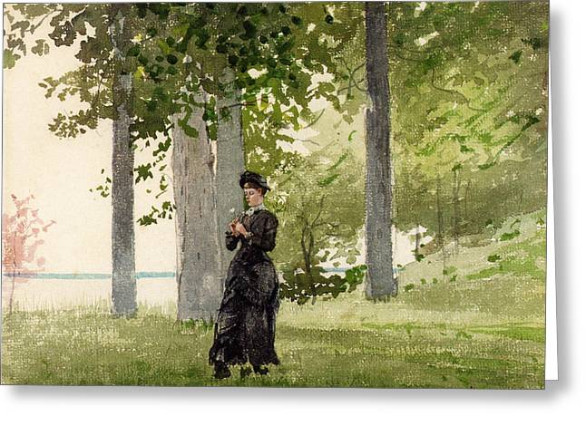 Woman With Flower Greeting Card by Winslow Homer
