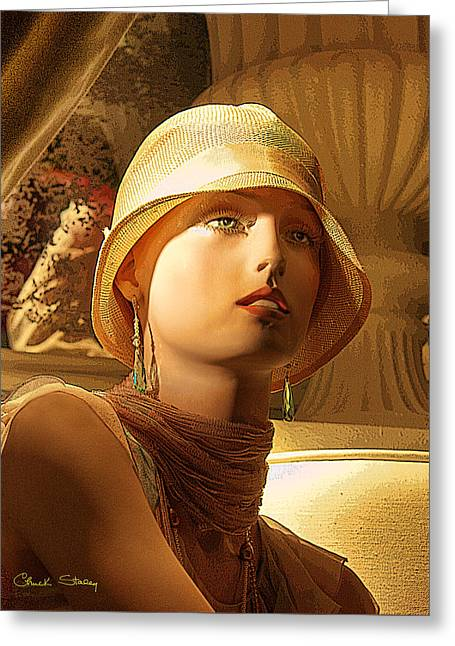 Woman With Hat - Chuck Staley Greeting Card by Chuck Staley