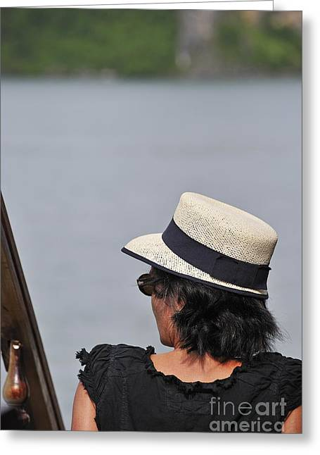 Woman With Hat Looking Away Greeting Card by Sami Sarkis