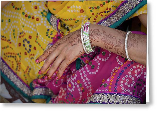 Woman With Henna Tattoo On Her Hand Greeting Card