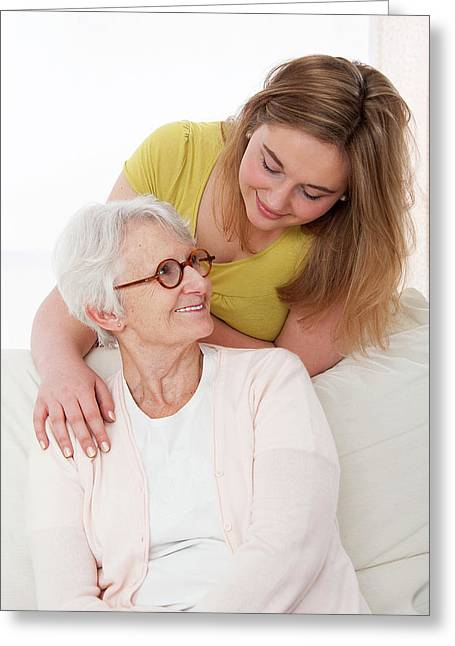 Woman With Her Hand On Shoulder Of Woman Greeting Card