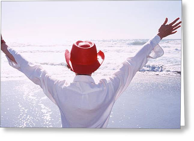 Woman With Outstretched Arms On Beach Greeting Card