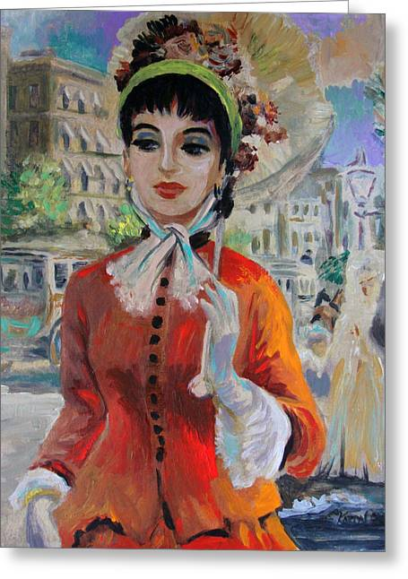 Woman With Parasol In Paris Greeting Card by Karon Melillo DeVega