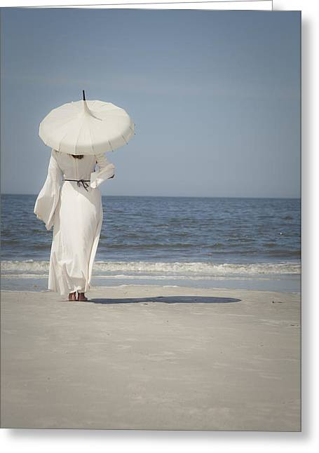 Woman With Parasol On The Beach Greeting Card
