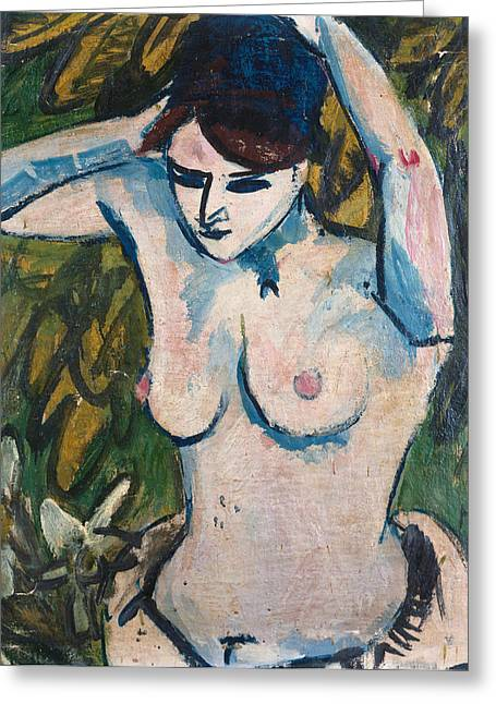 Woman With Raised Arms Greeting Card by Ernst Ludwig Kirchner