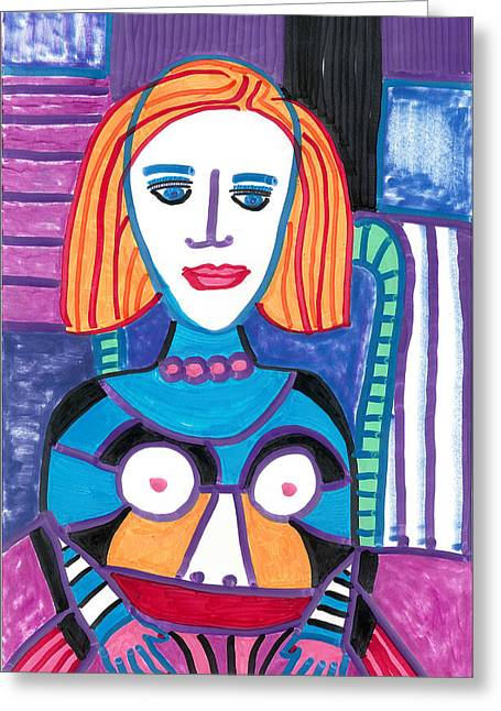 Woman With Red Orange Hair Greeting Card