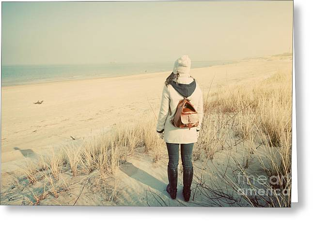 Woman With Retro Backpack On The Beach Looking At The Sea Greeting Card by Michal Bednarek