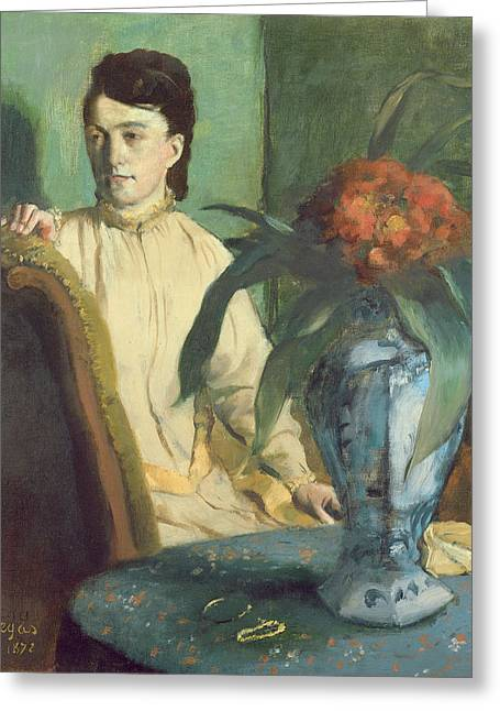 Woman With The Oriental Vase Greeting Card by Edgar Degas