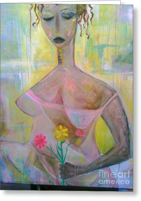 Woman With Three Flowers Greeting Card by Robert Daniels