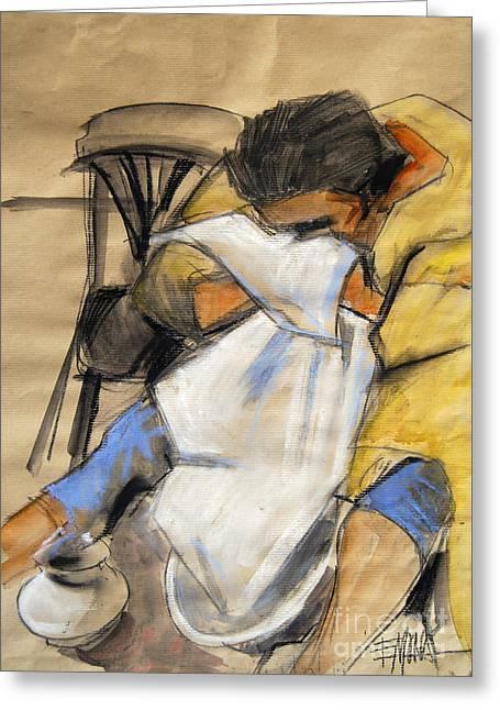 Woman With White Towel - Helene #9 - Figure Series Greeting Card