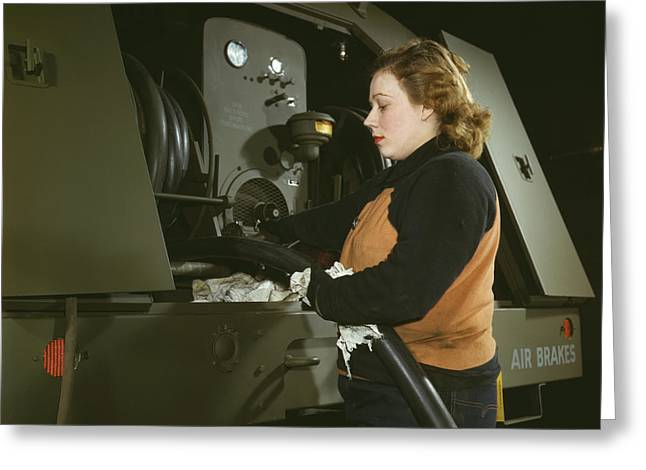Woman Worker Checking Gasoline Hose Greeting Card by Stocktrek Images